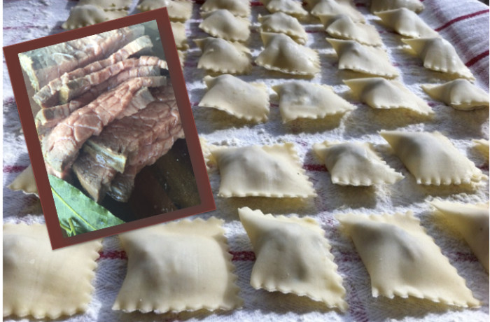 Ravioli with Roast beef filling